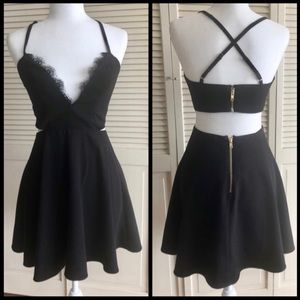 NBD revolve black skater cutout dress S
